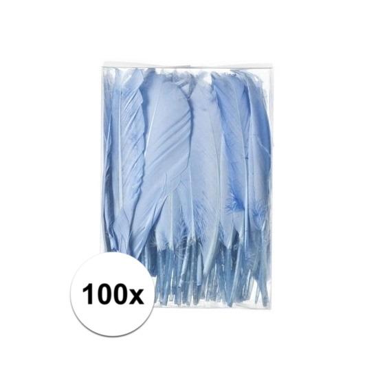 100x Decoratie veren blauw 13 cm