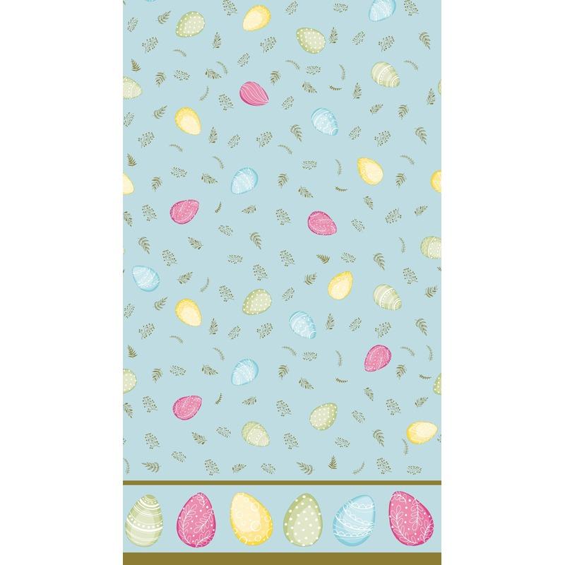 1x Pasen thema feest tafelkleden/tafellakens 138 x 220 cm eieren print lichtblauw/gekleurd