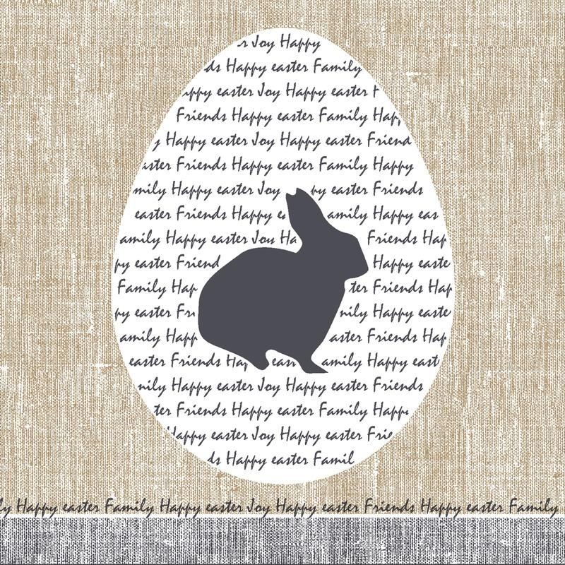 20x Pasen thema feest servetjes 33 x 33 cm paashaas/paaskonijn print grijs/beige