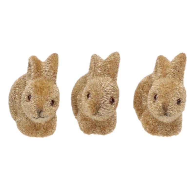 3x Grijs/bruine deco hazen/konijnen voor Pasen