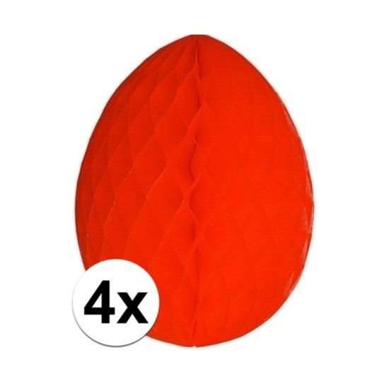 4x Rode decoratie paasei 20 cm brandvertragend