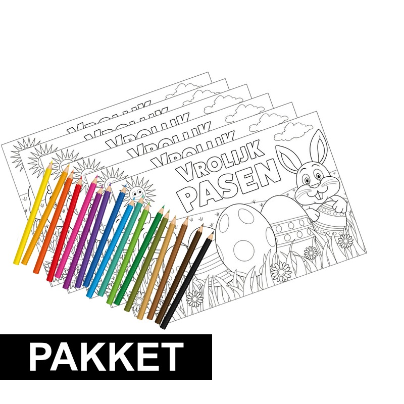 6x kleurplaten pasen met kleurpotloodjes