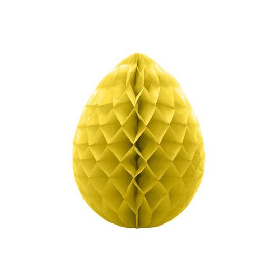 Deco honeycomb paasei geel 10 cm
