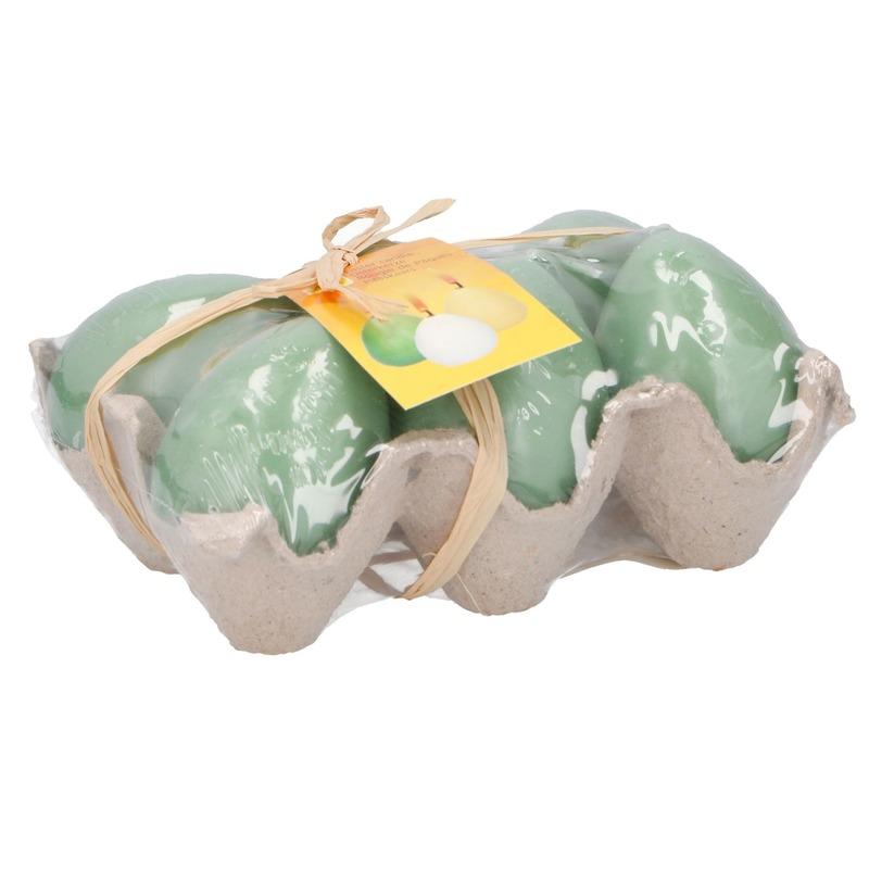 Decoratie kaarsjes paasei groen in doos