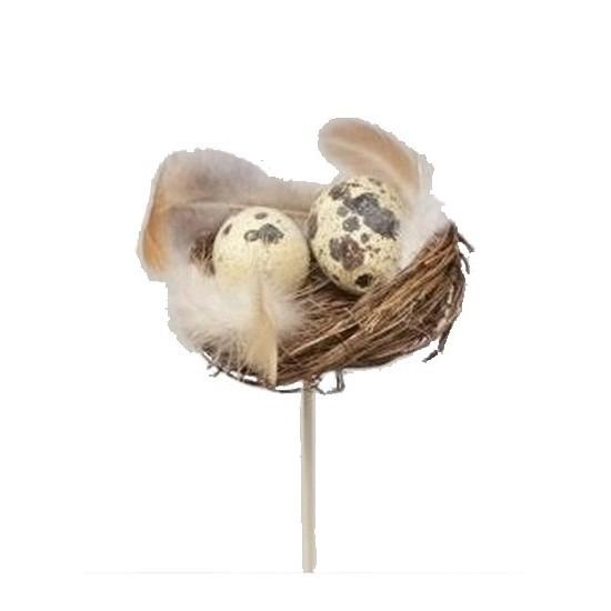 Decoratie nestje met kwarteleieren 7 cm
