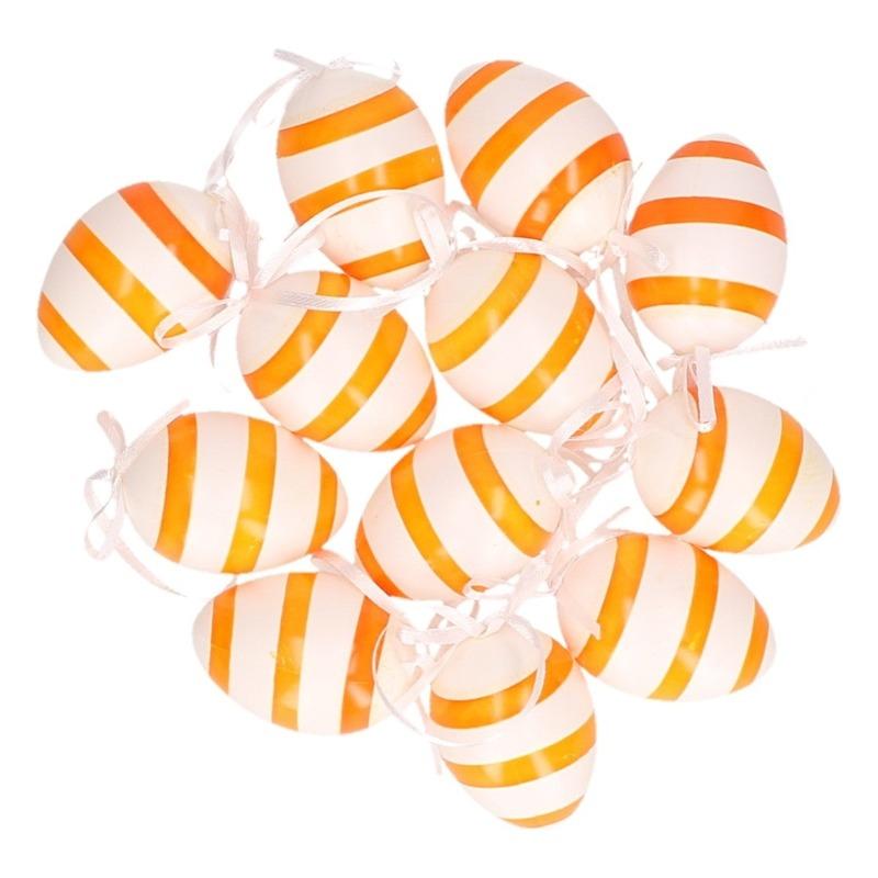 Decoratie paaseieren voor paastak oranje/wit gestreept 12 stuks