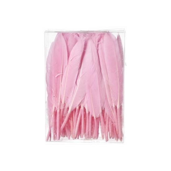 Decoratie veren roze 100 stuks13 cm