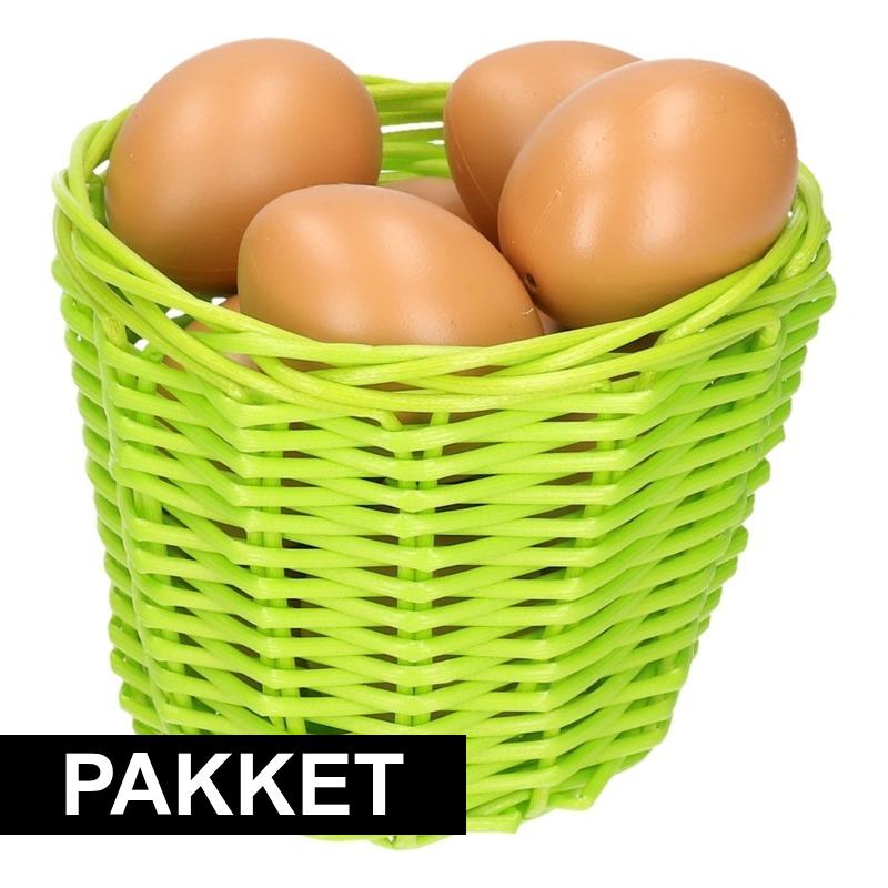 Groen paasmandje met eieren 14 cm