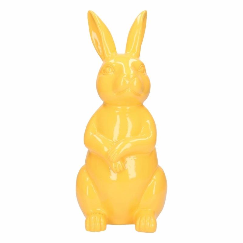 Haas / konijn tuin decoratie beeld geel 30 cm