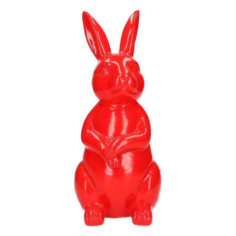 Haas-konijn tuin decoratie beeld rood 30 cm