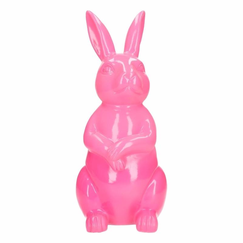 Haas-konijn tuin decoratie beeld roze 30 cm