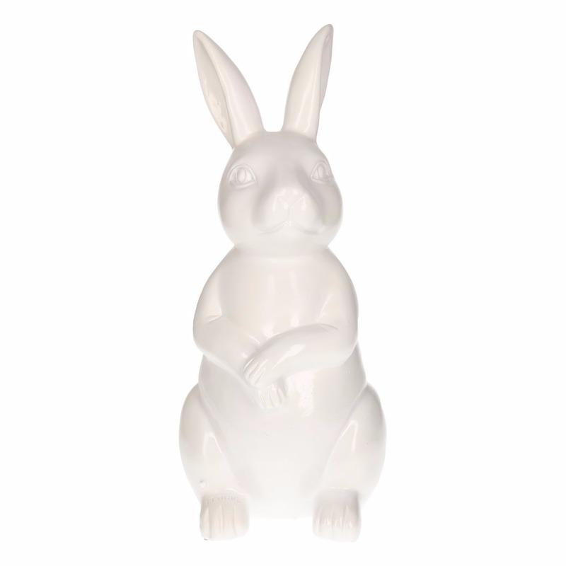 Haas-konijn tuin decoratie beeld wit 30 cm