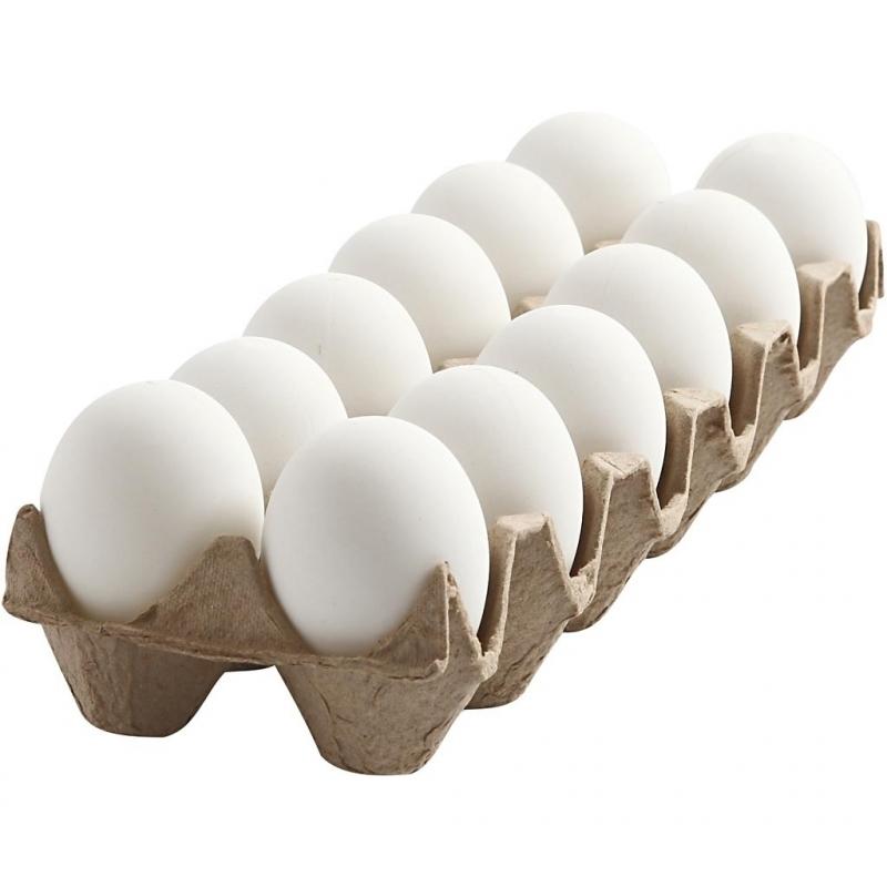 Mat witte nep eieren in eierdoos 12 stuks