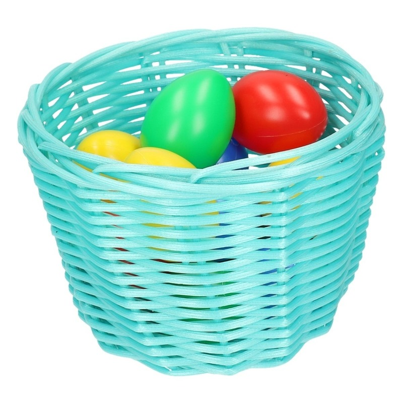 Paaseieren zoeken turquoise mandje met gekleurde eitjes 14 cm