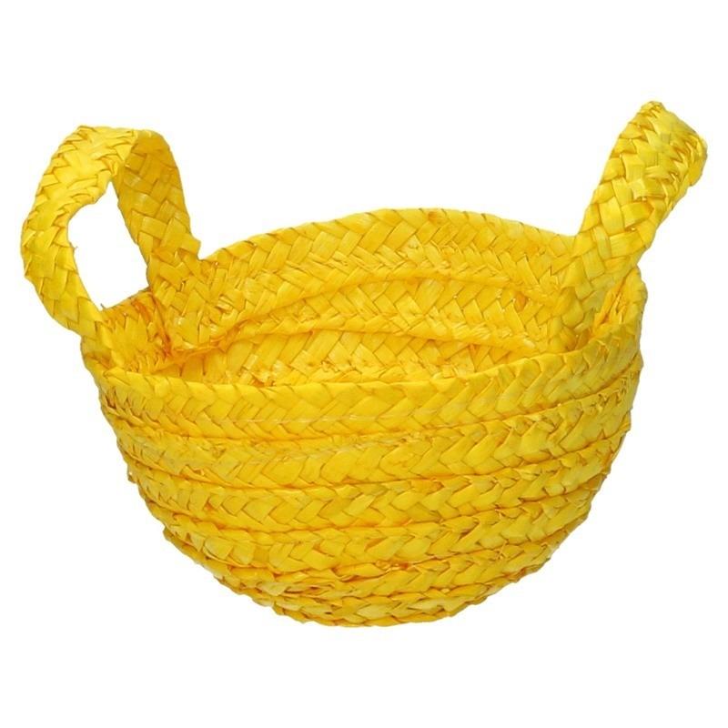 Paasmandje met handvatten geel