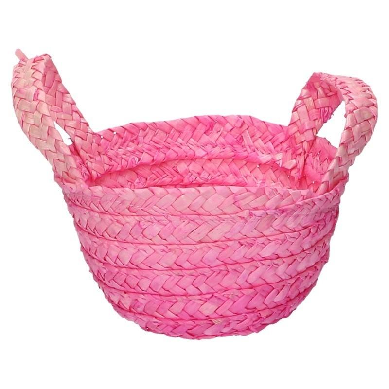 Paasmandje met handvatten roze