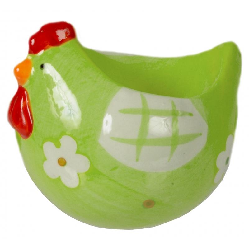 Paasontbijt eierdoppen kip groen 8 cm