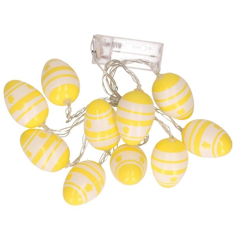 Paasslinger LED verlichting geel/witte paaseieren 192 cm