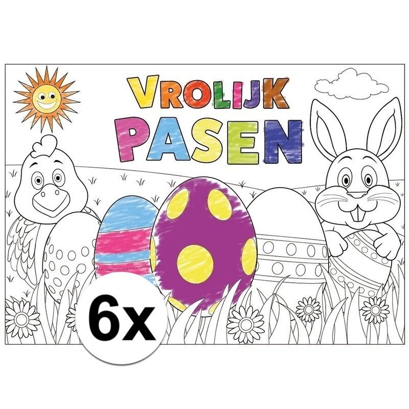 Ingekleurde Kleurplaten Pasen.Pasen Kleurplaat Placemats 6 Stuks Voor Paasontbijt