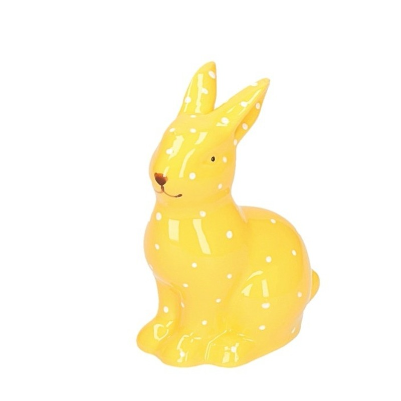 Pasen decoratie haasje-konijntje beeld geel 10 cm