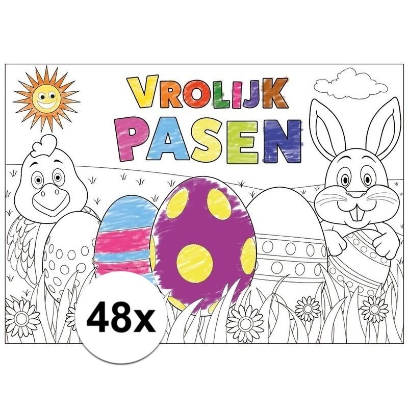 Pasen kleurplaat/ placemats 48 stuks voor paasontbijt/paaslunch