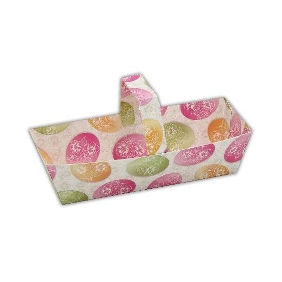 Pasen papieren decoratie mandje gekleurde eieren 15 cm