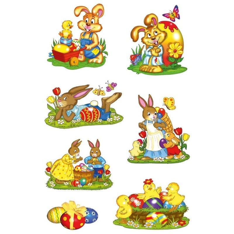 42x Pasen stickertjes met paashazen voor kinderen