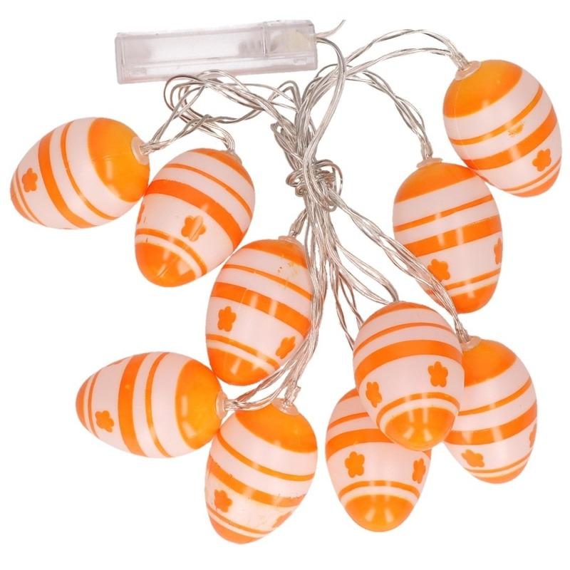 Paasslinger LED verlichting oranje/wit paaseieren 192 cm